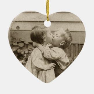 Vintage Love Photo of Children Kissing in a Garden Ceramic Ornament