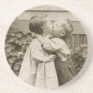 Vintage Love Photo of Children Kissing in a Garden Coaster