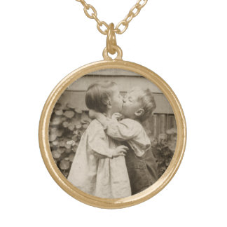 Vintage Love Photo of Children Kissing in a Garden Gold Plated Necklace