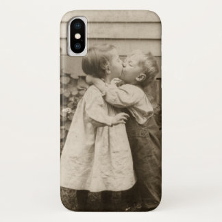 Vintage Love Photo of Children Kissing in a Garden iPhone X Case