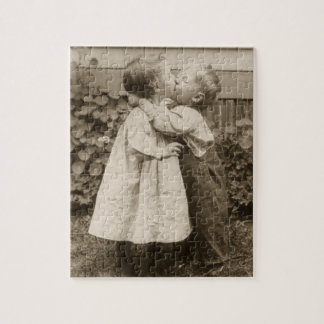 Vintage Love Photo of Children Kissing in a Garden Jigsaw Puzzle