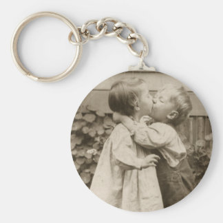 Vintage Love Photo of Children Kissing in a Garden Keychain