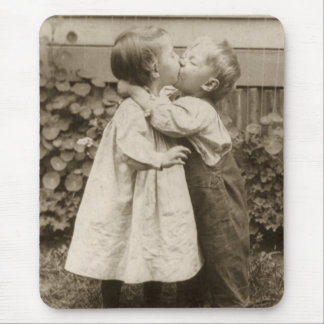 Vintage Love Photo of Children Kissing in a Garden Mouse Pad