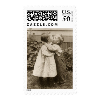 Vintage Love Photo of Children Kissing in a Garden Postage