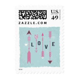 Vintage Love Pink & Blue Distressed Wedding Stamp