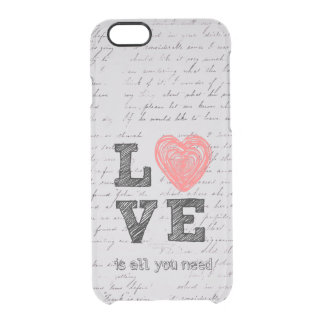Vintage Love Quote Clear iPhone 6/6S Case