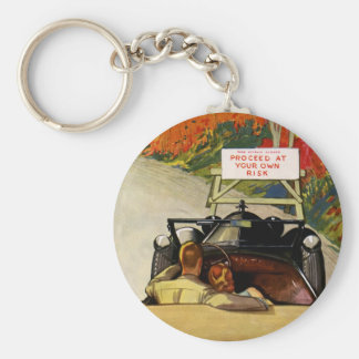 Vintage Love, Road Closed Proceed at Your Own Risk Keychain