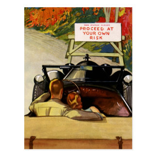 Vintage Love, Road Closed Proceed at Your Own Risk Postcards