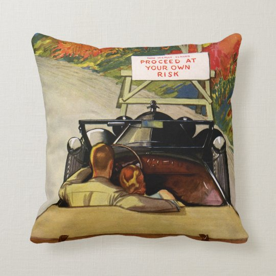 Vintage Love, Road Closed Proceed at Your Own Risk Throw Pillow
