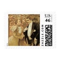 Vintage Love Romance, Art Nouveau, Alphonse Mucha Postage Stamp