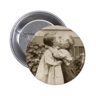 Vintage Love Romance, Children Kissing, First Kiss Button