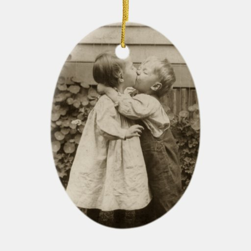 Vintage Love Romance, Children Kissing, First Kiss Double-Sided Oval Ceramic Christmas Ornament