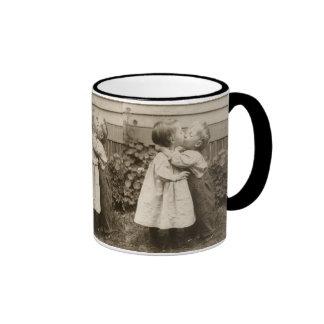 Vintage Love Romance, Children Kissing, First Kiss Ringer Coffee Mug