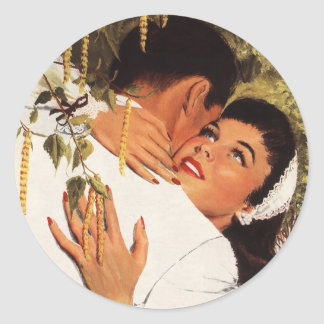 Vintage Love Romance, Couple in a Loving Embrace Classic Round Sticker