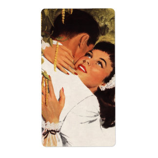 Vintage Love Romance, Couple in a Loving Embrace Label