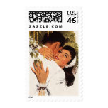 Vintage Love Romance, Couple in a Loving Embrace Postage