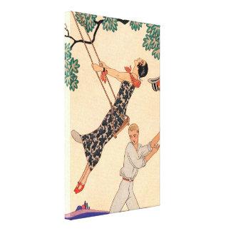Vintage Love Romance, Escarpolette Swing Barbier Canvas Print