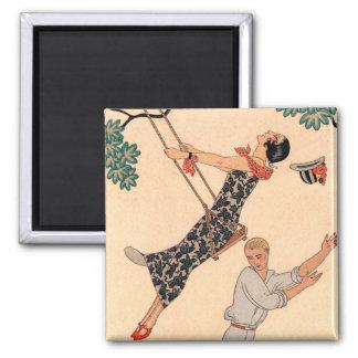Vintage Love Romance, Escarpolette Swing Barbier Refrigerator Magnets