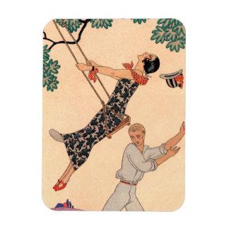Vintage Love Romance, Escarpolette Swing Barbier Rectangular Magnets
