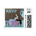 Vintage Love Romance Fireworks Kiss, RSVP Stamp