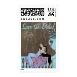 Vintage Love Romance Fireworks Kiss Save the Date Stamp