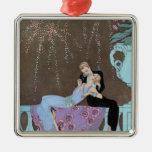 Vintage Love Romance, Fireworks Romantic Kiss Ornament