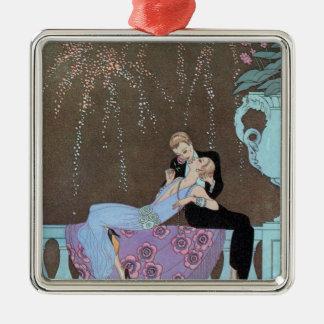 Vintage Love Romance, Fireworks Romantic Kiss Square Metal Christmas Ornament