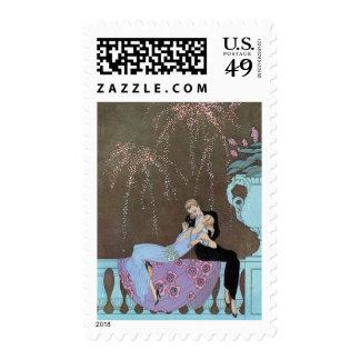 Vintage Love Romance, Fireworks Romantic Kiss Postage
