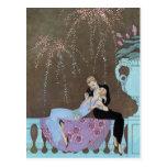 Vintage Love Romance, Fireworks Romantic Kiss Postcard