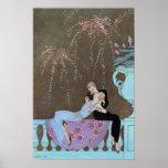 Vintage Love Romance, Fireworks Romantic Kiss Posters
