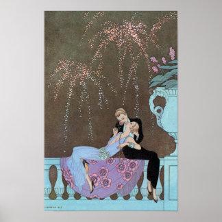 Vintage Love Romance Fireworks Romantic Kiss Posters