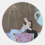 Vintage Love Romance, Fireworks Romantic Kiss Classic Round Sticker