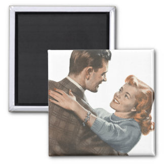 Vintage Love Romance Newlyweds Shall We Dance? 2 Inch Square Magnet