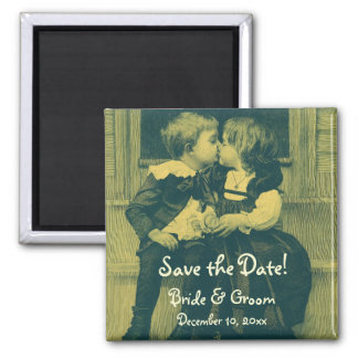 Vintage Love, Romance, Romantic, Save the Date 2 Inch Square Magnet