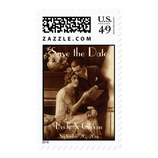 Vintage Love, Romance, Romantic, Save the Date Postage Stamps