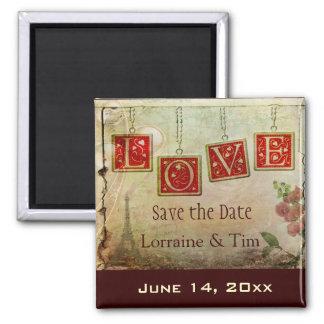 Vintage love Save the Date Magnet