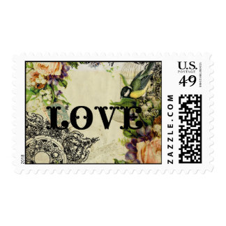 Vintage Love Stamp - Yellow Song Bird Cage Floral