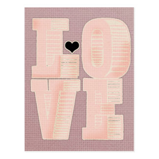Vintage love textile pattern pink peach white cute postcard