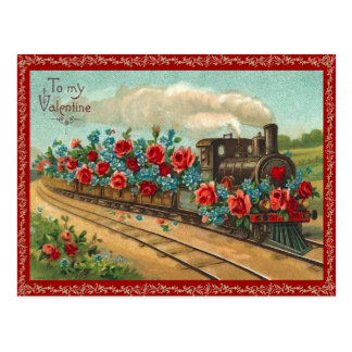 Vintage Love Train Valentine Postcard