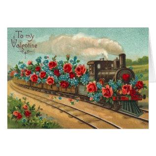 Vintage Love Train Valentine's Day Card at Zazzle