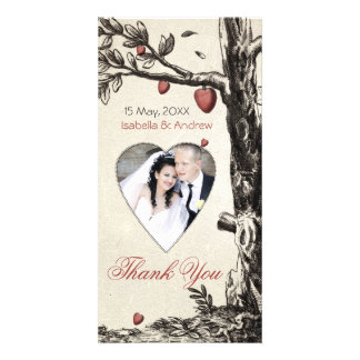 Vintage Love Tree - add your photo thank you card Photo Card