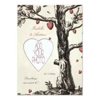 "Vintage Love Tree - add your photo wedding invite 4.5"" X 6.25"" Invitation Card"