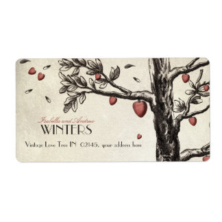 Vintage Love Tree Shipping Label