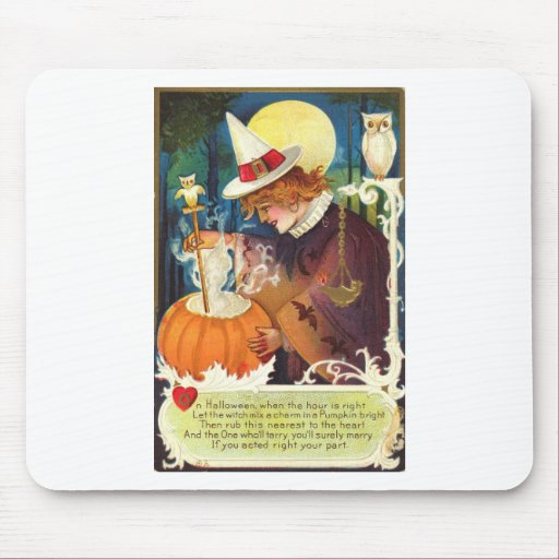 Vintage Love Witch Mouse Pad