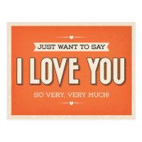 Vintage Love You Orange Grunge Postcard