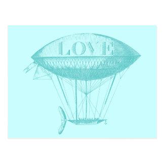 Vintage Love Zeppelin Blue Postcard