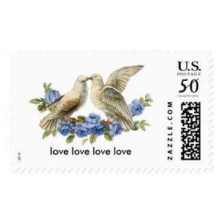 Vintage Lovebirds Blue Roses Postage