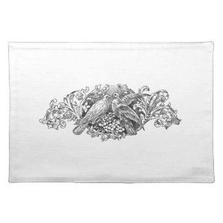 vintage lovebirds design typography cloth placemat