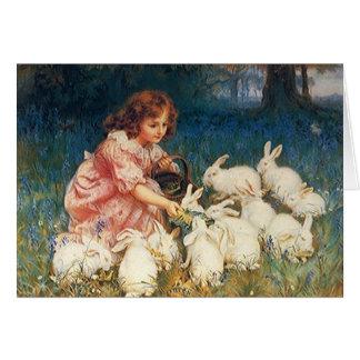Vintage Lovely Art Note Card Girl Bunny Rabbits