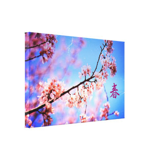 Vintage Lovely Soft Pink Cherry Blossoms Blue Sky Canvas Print